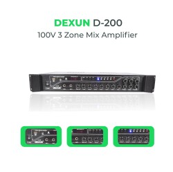 Dexun - Dexun D-200 100V Hat Trafolu 5 Zone Amplifer