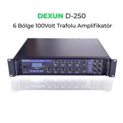 Dexun - Dexun D-250 100V Hat Trafolu 6 Zonlu Amplifer